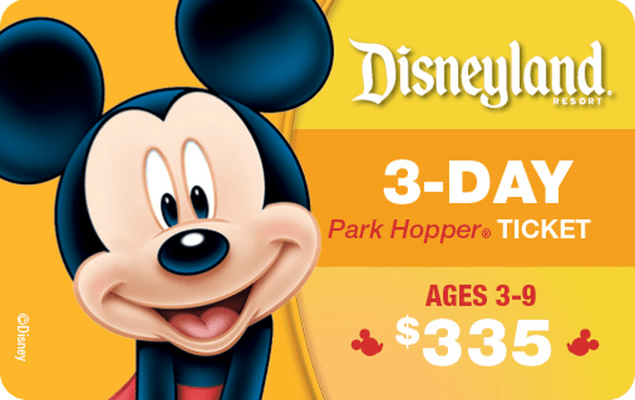 Disneyland® Resort 3-Day Park Hopper® Ticket Ages 3-9 $335 Gift Card