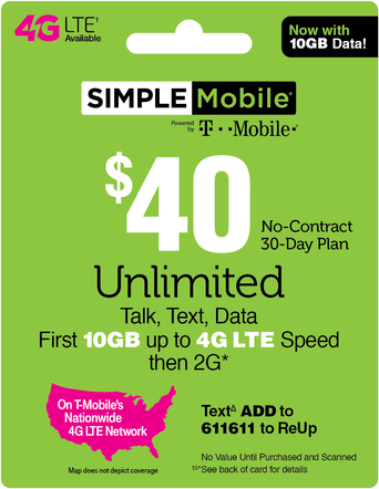 Promotion of Simple Mobile Prepaid Phone Card