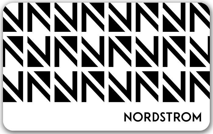 Image of Nordstrom logo on a silver gift card. Link to Nordstrom gift card purchase details.