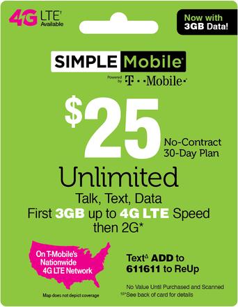Simple Mobile Prepaid Phone Card