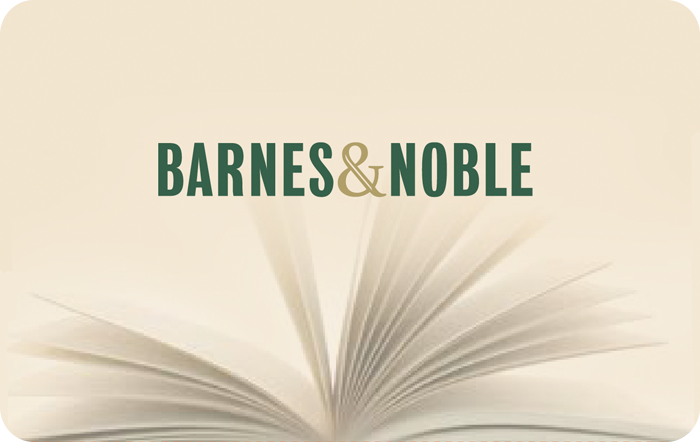 Image of Barnes and Noble logo with the text Barnes and Noble and the text gift card and also accepted at BN.com on a gift card. Link to Barnes & Noble gift card purchase details.
