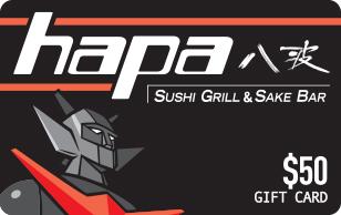 Hapa Sushi Grill and Sake Bar 50 eGift Card