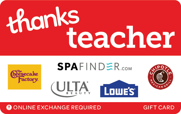 Promotion of Thanks Teacher eGift Card