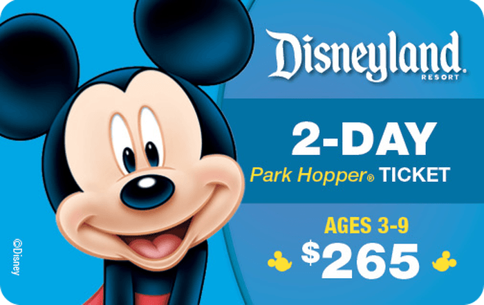 Disneyland® Resort 2-Day Park Hopper® Ticket Ages 3-9 $265 eGift Card