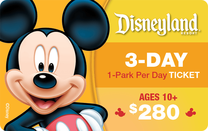 Disneyland® Resort 3-Day, 1-Park Per Day Ticket Ages 10+ $280
