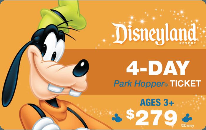 Disneyland® Resort 4-Day Park Hopper® Ticket Ages 3+ $279