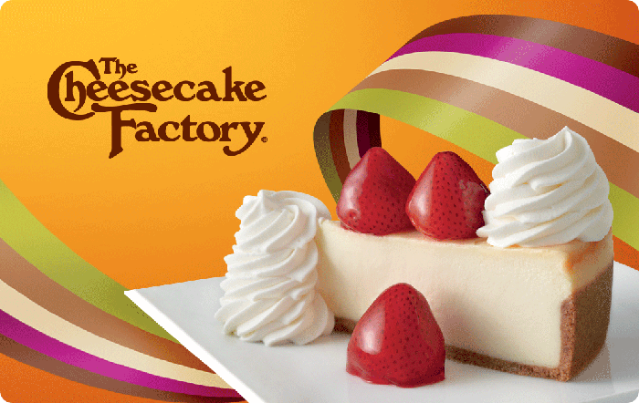 Image of Cheesecake Factory logo and a photo of a slice of cheesecake and strawberries on a gift card. Link to The Cheesecake Factory gift card purchase details