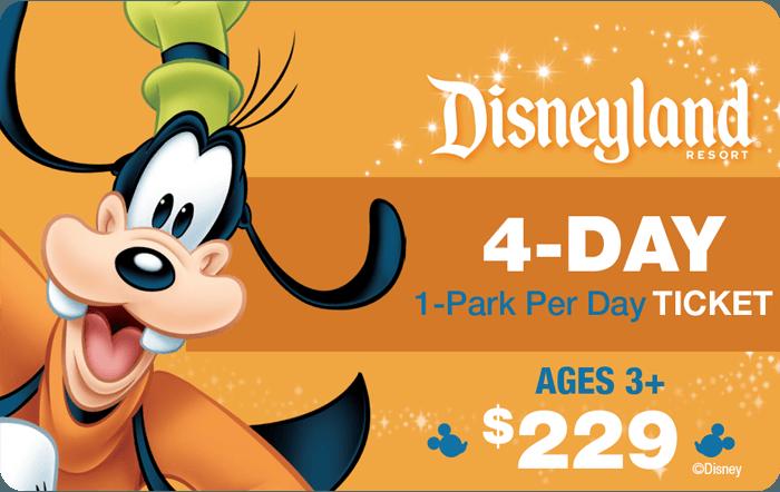 Disneyland® Resort 4-Day 1-Park Per Day Ticket Ages 3+ $229