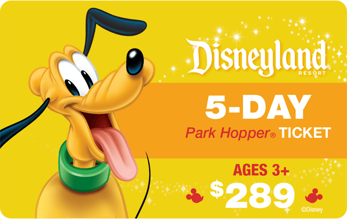 Disneyland® Resort 5-Day Park Hopper® Ticket Ages 3+ $289