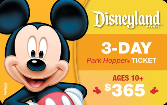 Disneyland® Resort 3-Day Park Hopper® Ticket Ages 10+ $365