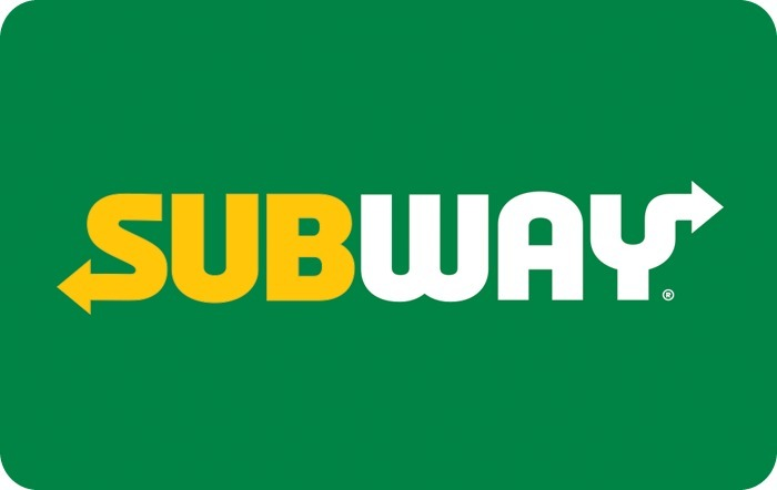 Image of Subway yellow and white logo with green background. Link to Subway gift card purchase details.