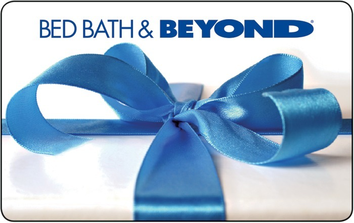 Image of blue ribbon with text Bed Bath & Beyond. White background. Link to Bed Bath & Beyond gift card purchase details.