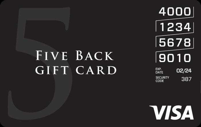 Five Back VisaeGift Card GiftCardMall.com