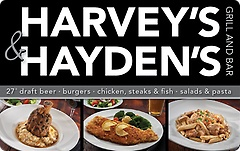 Harvey's Grill and Bar & Hayden's Grill and Bar Gift Card