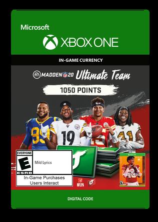 Xbox Madden 20 1050 VC $9.99 eGift