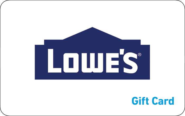 Image of Lowe's logo of a building with the text Lowe's and gift card. Link to Lowe's gift card purchase details.