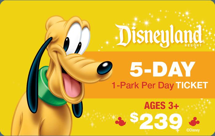 Disneyland® Resort 5-Day 1-Park Per Day Ticket Ages 3+ $239