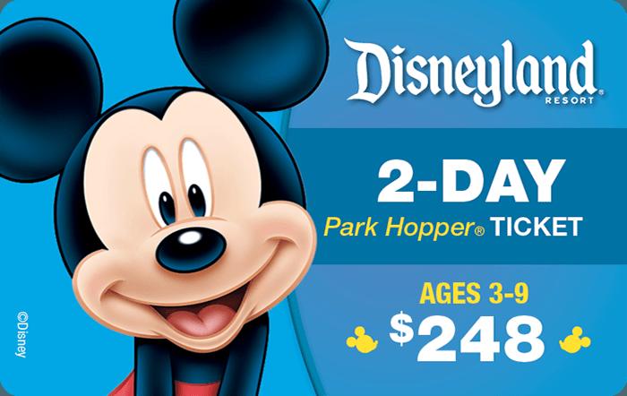 Disneyland® Resort 2-Day Park Hopper® Ticket Ages 3-9 $248