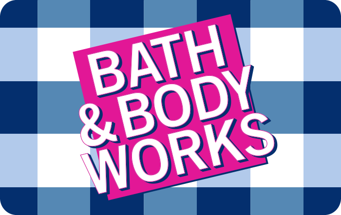 Image of Bath and Body Works logo Gift white/blue checkered background on a gift card. Link to Bath & Body Works gift card purchase details.