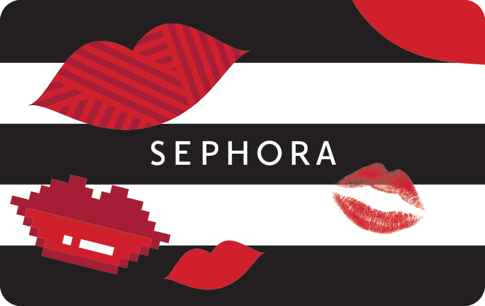 Image of Sephora logo w/red kiss lips and stripes on a gift card. Link to Sephore gift card purchase details