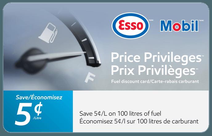 $5 Esso and Mobil Price Privileges eGift Card