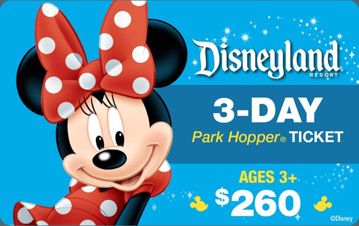 Disneyland® Resort 3-Day Park Hopper® Ticket Ages 3+ $260
