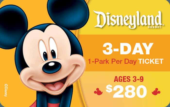 Disneyland® Resort 3-Day 1-PARK PER DAY Ticket Ages 3-9 $280 eGift Card