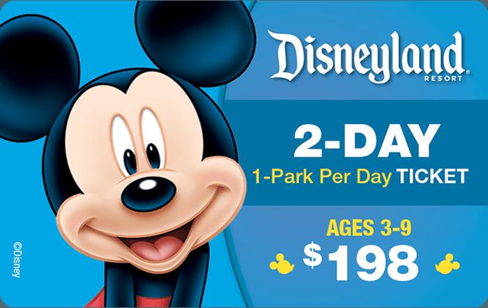 Disneyland® Resort 2-Day 1-Park Per Day Ticket Ages 3-9 $198