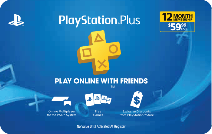 PlayStation Plus 12 Month Membership $59.99