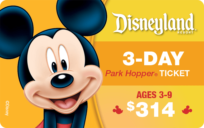 Disneyland® Resort 3-Day Park Hopper® Ticket Ages 3-9 $314