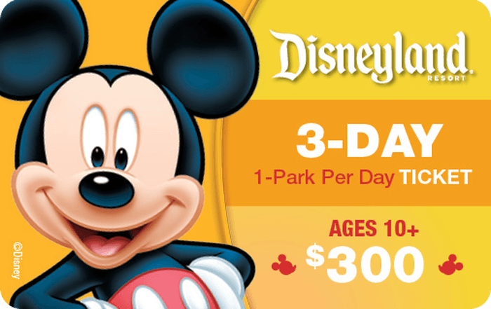 Disneyland® Resort 3-Day, 1-Park Per Day Ticket Ages 10+ $300 Gift Card