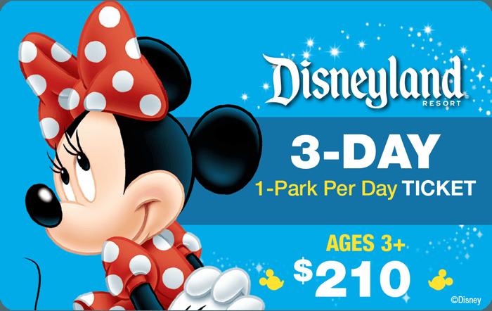 Disneyland® Resort 3-Day 1-Park Per Day Ticket Ages 3+ $210