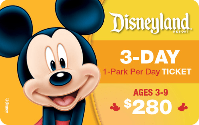 Disneyland® Resort 3-Day, 1-Park Per Day Ticket Ages 3-9 $280 Gift Card