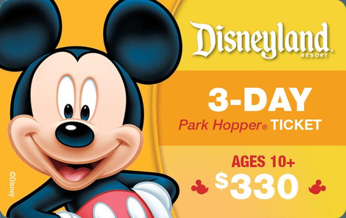 Disneyland® Resort 3-Day Park Hopper® Ticket Ages 10+ $330