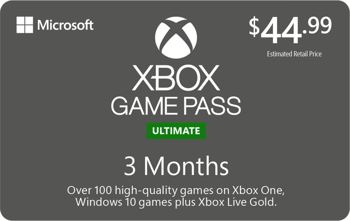 Promotion of XBOX Game Pass Unlimited 3 Month $44.99