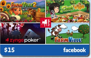 Facebook Zynga $15 eGift Card
