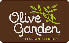 Image of Olive Garden logo with text Olive Garden Italian Kitchen on brown background on a gift card. Link to Olive Garden gift card purchase details.