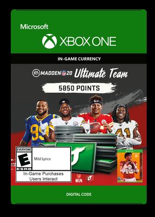 Xbox Madden 20 5850 VC $49.99 eGift