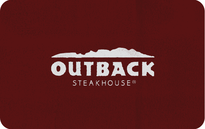 Image of Outback Steakhouse logo on a maroon colored background, on a gift card. Link to Outback Steakhouse gift card purchase details.