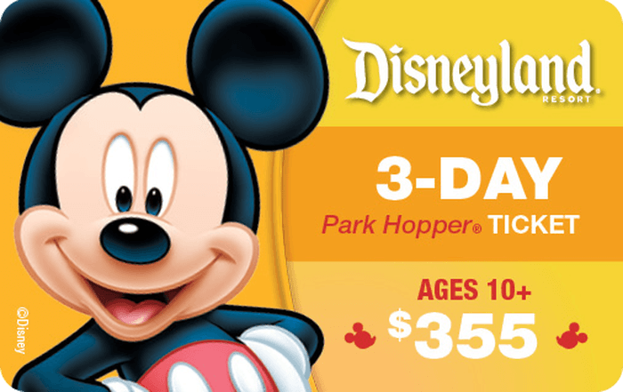 Disneyland® Resort 3-Day Park Hopper® Ticket Ages 10+ $355 Gift Card