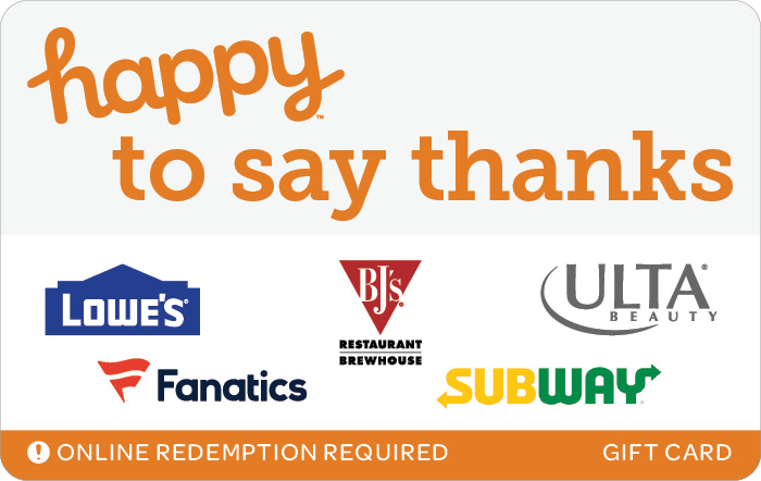 Promotion of Happy to Say Thanks eGift Card