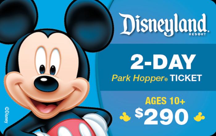 Disneyland® Resort 2-Day Park Hopper® Ticket Ages 10+ $290