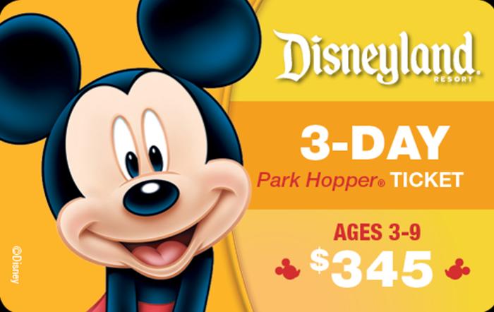 Disneyland® Resort 3-Day Park Hopper® Ticket Ages 3-9 $345