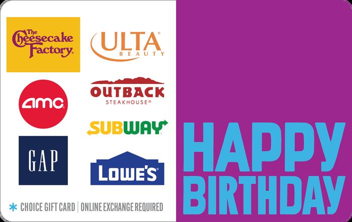 Happy Birthday Choice eGift Card