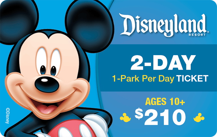 Disneyland® Resort 2-Day 1-Park Per Day Ticket Ages 10+ $210