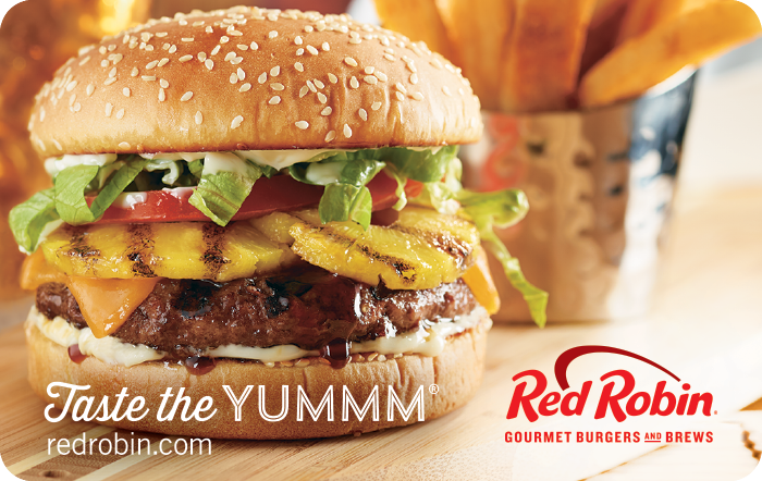 Image of Red Robin logo with a burger on a gift card. Link to Red Robin gift card purchase details