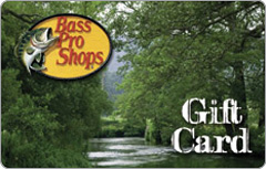 Image of the Bass Pro Shops logo on a gift card with trees. Link to Bass Pro Shops gift card purchase details.