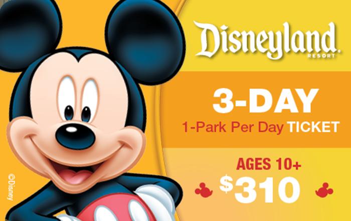 Disneyland® Resort 3-Day, 1-Park Per Day Ticket Ages 10+ $310