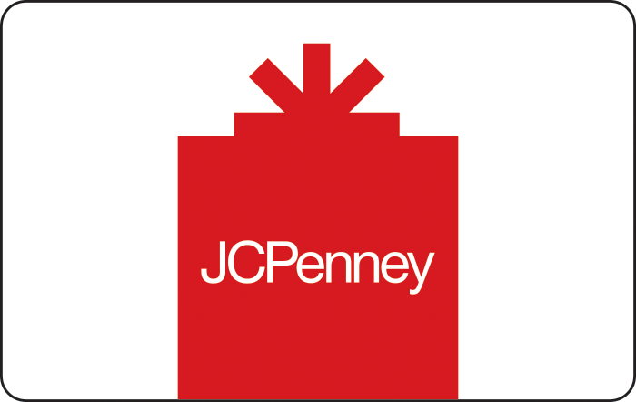 Image of JCPenny logo on a white/red gift box on a gift card. Link to JCPenney gift card purchase details.