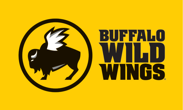 Yellow background. Buffalo Wild Wings logo with the text to the right that reads Buffalo Wild Wings. Link to Buffalo Wild Wings gift card purchase details.